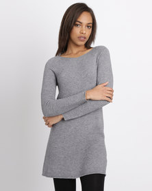 G Couture Rib Swing Knitwear Top Grey