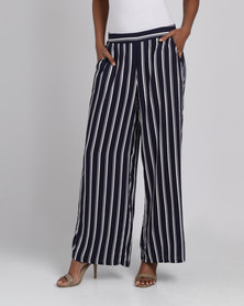 G Couture Printed Stripe Pallazo Pants Navy/White