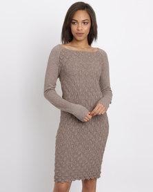 G Couture Scale Knitwear Dress Mocha