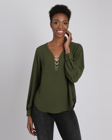 G Couture Ringed Front V Neck Blouse Olive
