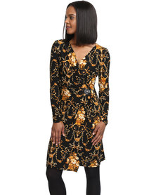 G Couture Exclusive Wrap Dress Gold