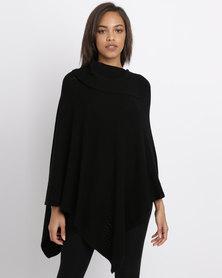 G Couture Split Collar Design Poncho Black