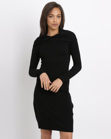 G Couture Twisted Neckline Knitwear Dress Black