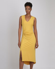 G Couture V Neck Side Knot Dress Yellow