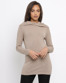 G Couture Twisted Neckline Knitwear Jumper Mocha
