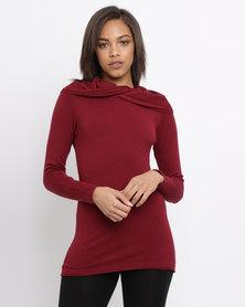 G Couture Twisted Neckline Knitwear Jumper Wine