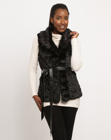 G Couture Fur Gilet With Belt (Rounded Single Lapel Collar) Black