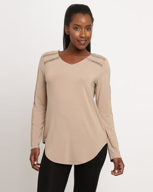 G Couture Top With Inset Detail Putty