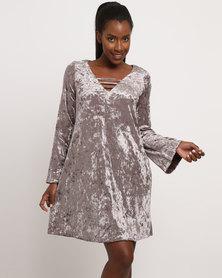 G Couture Velvet Mockwrap Knitwear Dress Greystone
