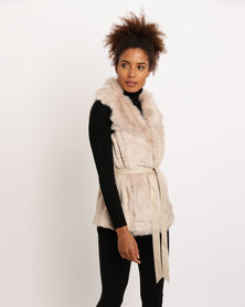 G Couture Fur Gillet With Belt (Double Lapel Collar) Stone