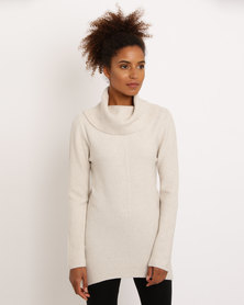 G Couture Diagonal Ribbed Knitwear Cowl Neck Jumper Oatmeal