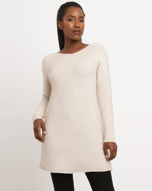 G Couture Ribbed Knitwear Swing Top Stone