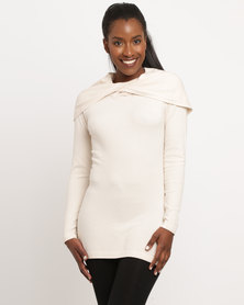 G Couture Twist Neck Knitwear Top Beige