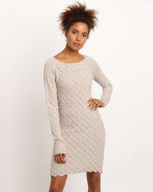 G Couture Scale Design Knitwear Dress Taupe Melange