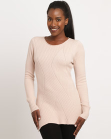 G Couture Round Neck Stitch Design Jumper Rose
