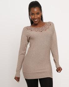 G Couture Crochet Neckline Knitwear Jumper Mocha Melange
