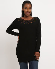 G Couture Crochet Neckline Knitwear Jumper Black