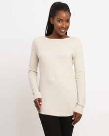 G Couture Multi Stitch Design Knitwear Jumper Stone
