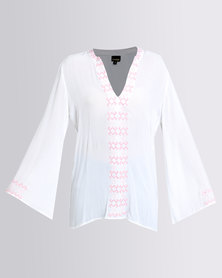 G Couture Embroidered Kaftan With Sleeve Detail White