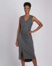 G Couture V Neck Side Knot Dress Grey Melange
