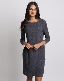 G Couture Fold Over Buckled Neckline Dress Blue Melange