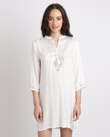G Couture Mirrored Embroidered Tunic Milk