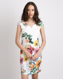G Couture Notch Neck Cold Shoulder Printed Dress Multi