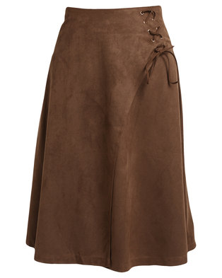 G Couture Suedette Skirt Tan