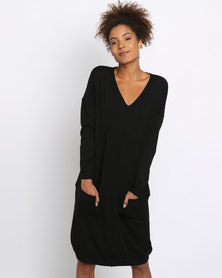 G Couture Rolled Edge Knitwear Jumper Dress With Pockets Black