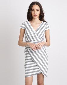 G Couture Stripe Bodycon Short Sleeve Slanted Hem Dress Grey/White