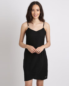 G Couture Strappy Black Dress With Gold Trim