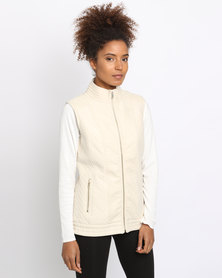 G Couture Suede Sleeveless Jacket Stone