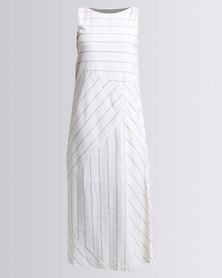 G Couture A-line Stripe Dress White