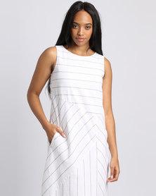 G Couture A-line Stripe Dress White