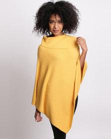 G Couture Split Collar Poncho Mustard