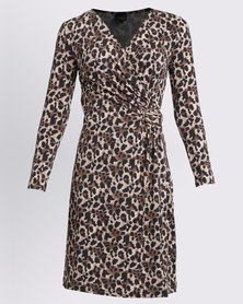 G Couture Mockwrap Knitwear Dress Animal Print Multi