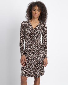 G Couture Mockwrap Knitwear Dress Animal Print Multi