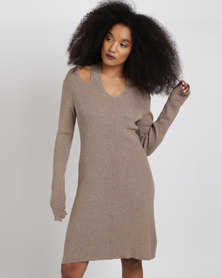 G Couture Ribbed Knitwear Buttoned Down Dress Taupe