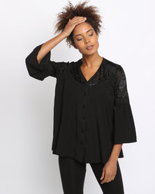 G Couture Velvet Burn Out Flared Sleeve Top Black