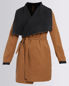 G Couture Crossover Coat With Belt Tan Multi