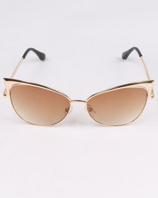 G Couture Cats Eye Sunnies With Cover Brown