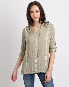 G Couture Embroidered Notch Neck Top Fatigue & Milk