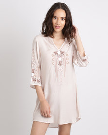 G Couture Embroidered Feminine Tunic Salmon