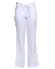 G Couture Formal Linen Pants with Self Fabric Belt White