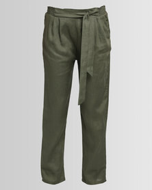 Game of Threads Front Tie Elasticated Pants Herb Green