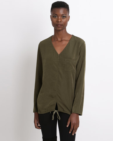 Game of Threads Combo Tunic Top With Drawstring Dark Olive