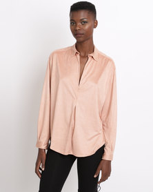 Game of Threads Suede V-Neck Double Back Panel Blouse Salmon Pink