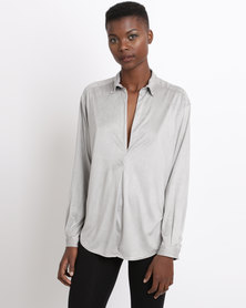 Game of Threads Suede V-Neck Double Back Panel Blouse Silver