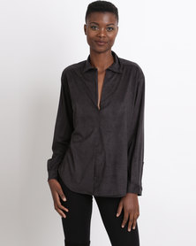 Game of Threads Suede V-Neck Double Back Panel Blouse Black