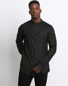 Game of Threads Long Sleeve Mandarin Shirt Black